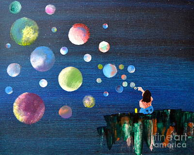 Blowing Bubbles Art Print by Denise Tomasura