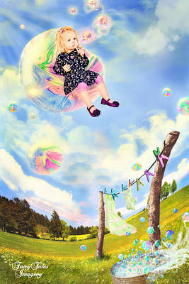Blowing Bubbles Art Print by Fairy Tales Imagery Inc