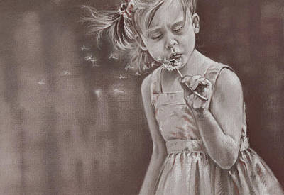 Girl Face Drawing - Blowing In The Wind by Natasha Denger