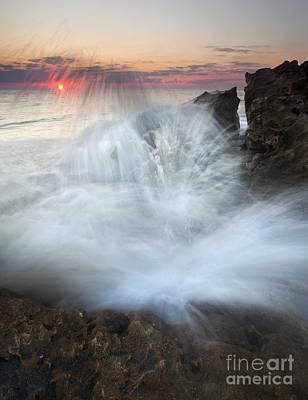 Blowing Rocks Sunrise Explosion Print by Mike  Dawson