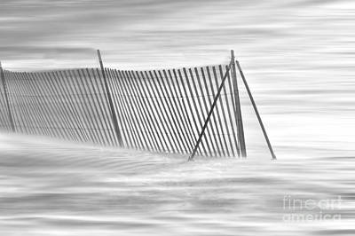 Blowing Snow At Snow Fence  Art Print by Dan Friend