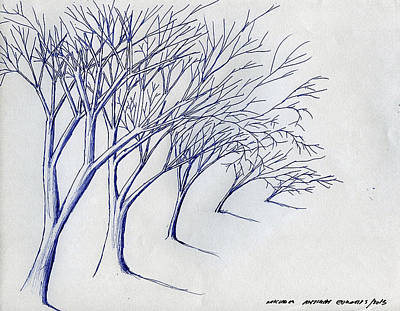 Drawing - Blowing Trees by Michael Anthony Edwards