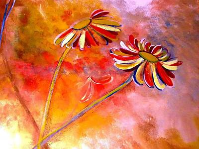 Art Print featuring the painting Blown Backward Fall Floral by Lisa Kaiser
