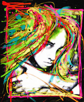 Peter Max Painting - Blown Out Hair by Frank Papandrea
