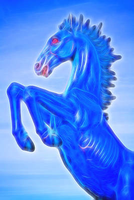 Photograph - Blucifer The Rearing Blue Mustang Horse by James BO  Insogna