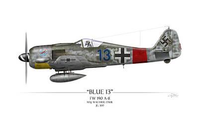 Wwii Painting - Blue 13 Focke-wulf Fw 190 - White Background by Craig Tinder
