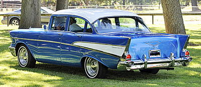 Photograph - Blue 1957 Bel Air Chevy by AJ  Schibig