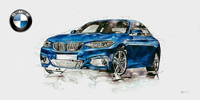 Digital Art - Blue 2014 Bmw 2 Series Coupe With 3d Badge  by Serge Averbukh