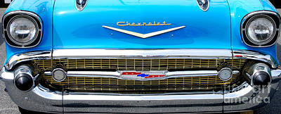Photograph - Blue '57 Chevy Grill by Mark Spearman