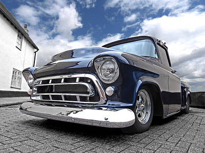 Photograph - Blue 57 Stepside Chevy by Gill Billington