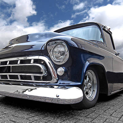 Vintage Chevy Photograph - Blue '57 Stepside Chevy Square by Gill Billington
