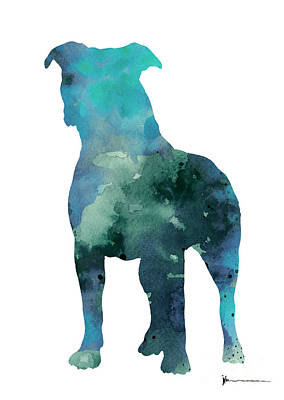 Dog Abstract Art Painting - Blue Abstract Pitbull Silhouette by Joanna Szmerdt