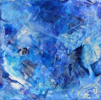 Blue Abstract Square Painting Blue Shades Modern Wall Art By Chakramoon Art Print by Belinda Capol