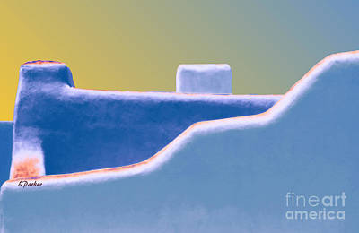Santa Fe Digital Art - Blue Adobe Rooftop  by Linda  Parker