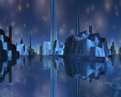 Digital Art - Blue Alien Harbor City by Judi Suni Hall