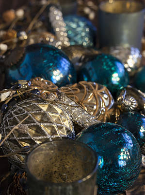 Photograph - Blue And Beige Christmas Decorations by Amber Kresge