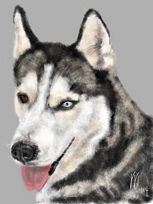 Huskie Wall Art - Painting - Blue And Brown Eyed Huskie by Lois Ivancin Tavaf