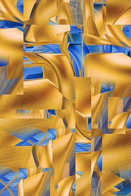 Digital Art - Blue And Gold Abstract by r Erickson