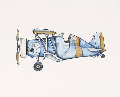 Blue And Gold Airplane - Two Original
