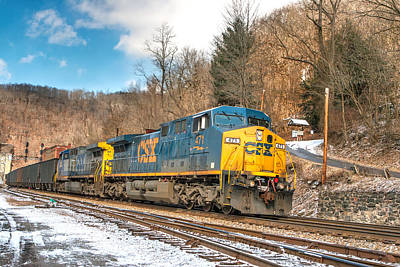 Photograph - Blue And Gold Csx Train by Mary Almond