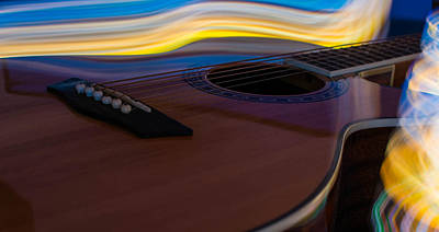 Photograph - Blue And Gold Guitar by Nathan Hillis