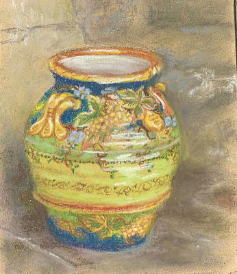 Blue And Gold Italian Pot Art Print by Harriett Masterson