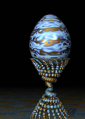 Blue And Golden Egg Art Print by Hakon Soreide