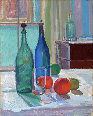 Blue And Green Bottles And Oranges Signed Art Print by Litz Collection