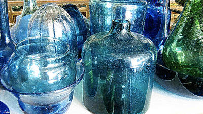 Photograph - Blue And Green Glassware by Rich Franco