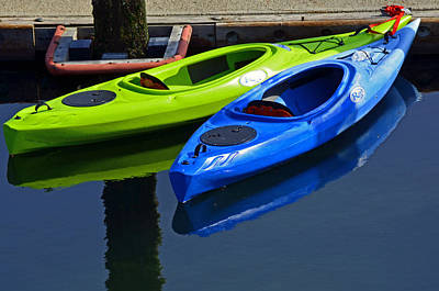 Photograph - Blue And Green Kayaks by Tikvah's Hope