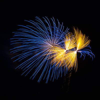 Holiday Art Work Photograph - Blue And Orange Fireworks by Paul Freidlund
