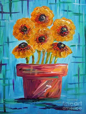 Blue And Orange - Flowers In Football Colors Art Print