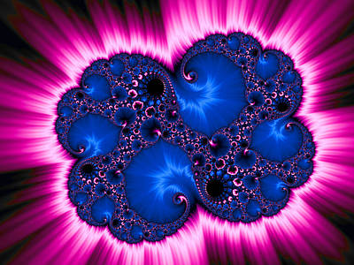 Modern Fractal Art Photograph - Blue And Pink Fractal Explosion Abstract Digital Art by Matthias Hauser