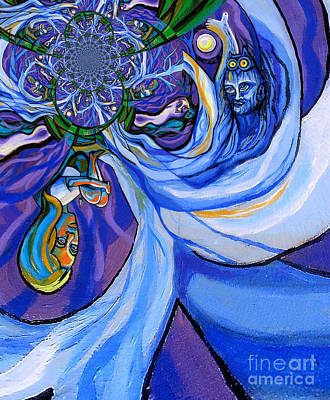 Blue And Purple Girl With Tree And Owl Upside Down Art Print