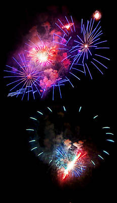Photograph - Blue And Red Firework Disks by Weston Westmoreland