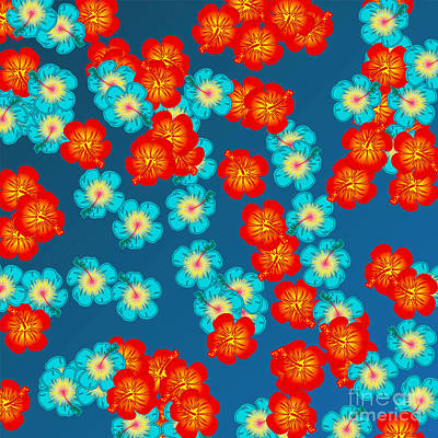 Blooming Digital Art - Blue And Red Hibiscus by Gaspar Avila