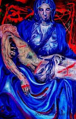 Blue And Red Pieta 1 Original by Barbara Leavitt