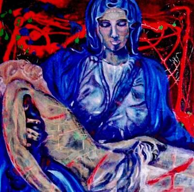 Blue And Red Pieta Original by Barbara Leavitt