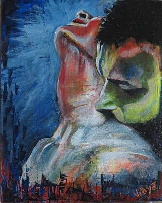 Potraiture Painting - Blue And Red by Vidya Vivek