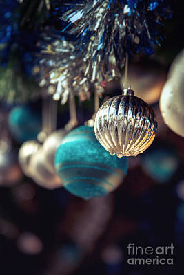 Sparkly Photograph - Blue And Silver Baubles. by Jane Rix