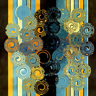 Contemporary Abstract Digital Art - Blue And Tangerine Swirls by Bonnie Bruno