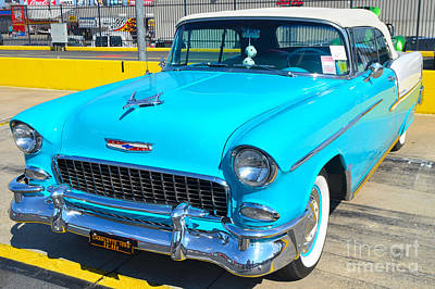 Photograph - Blue And White '55 Chevy Belaire by Mark Spearman