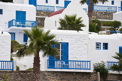 Photograph - blue and white hotel on Mykonos Greece by Brenda Kean