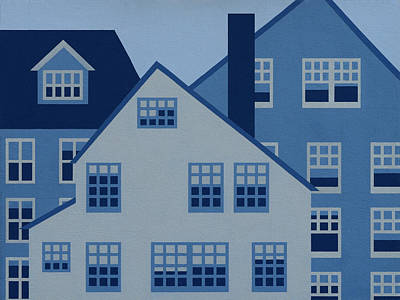 Cape Cod Painting - Blue And White Houses  Two by Robert Todd