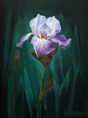 Painting - Blue And White Iris by Synnove Pettersen
