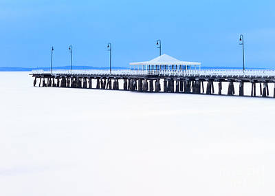 Photograph - Blue And White Pier by Silken Photography