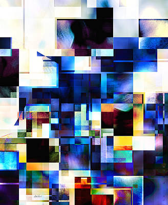 Digital Art - Blue And White Squares Three - Abstract - Art by Ann Powell
