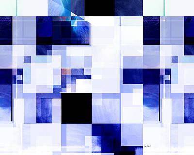 Digital Art - Blue And White Squares Two -abstract -art by Ann Powell