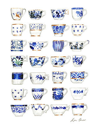Tea Rooms Painting - Blue And White Teacups Collage by Laura Row Studio