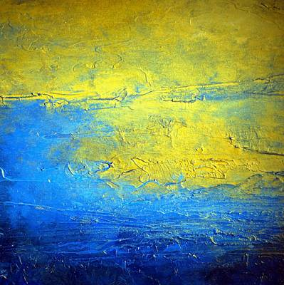 Holly Anderson Painting - Blue And Yellow Abstract Painting Sirius The Brightest Glow In The Night Sky by Holly Anderson